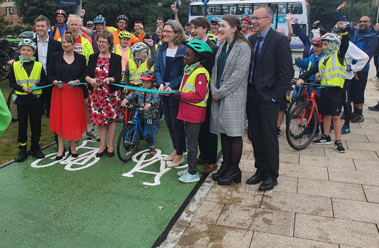 Official opening of Leeds's new £7.9m city centre cycle superhighway – constructed by Colas